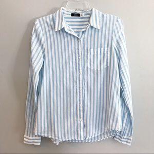 BDG Long sleeve blue/white stripe shirt- Small-P